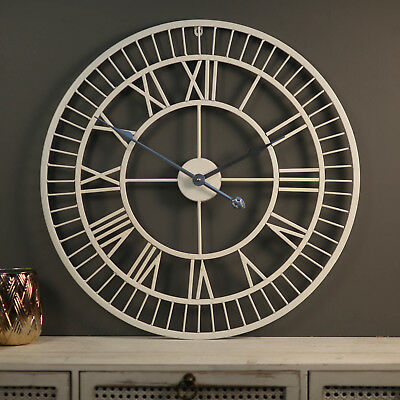 Large Wall Clock 65cm WHITE NUMBERS Metal Industrial French Provincial Iron NEW