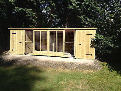 Tanalised Wooden Dog Kennel And Run / Cattery  16Ft X 4Ft