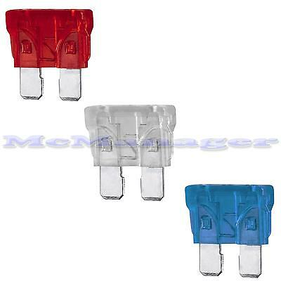 Car Blade Fuse 10A-30A Red/Blue/Yellow/Clear/Green 19x12mm Pack of 5