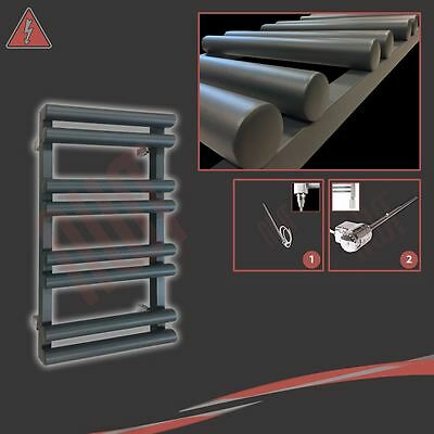 """500mm(w) x 800mm(h) """"Totem"""" Electric Anthracite Designer Heated Towel Rail 150W"""