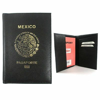 Mexico Genuine Leather Passport Cover Holder Black Wallet Case Card Protector !!