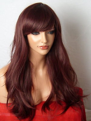 Wig Long Wavy Red Brown Full Ladies Fashion natural party cosplay Wig cheap C18