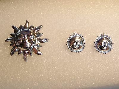 Sterling Silver Mexican Sun Pin Brooch And Earrings Set N625-I