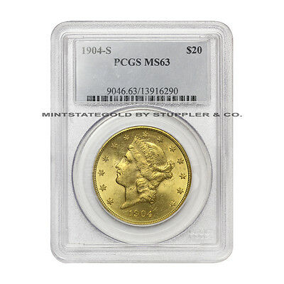 1904-S $20 Liberty PCGS Choice graded MS63 San Francisco Double Eagle Gold coin