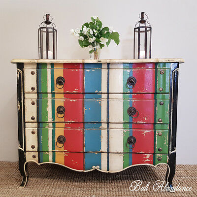 French Provincial Rainbow Striped Chest of Drawers Tallboy