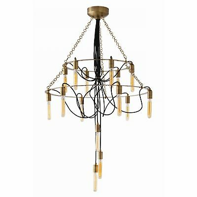 """34"""" Dia Chandelier Vintage Brass Canopy Finish Iron Crystal Gold Gray Clear Natu"""