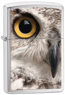Zippo Windproof Brushed Chrome Lighter With Owl Face, 28650, New In Box