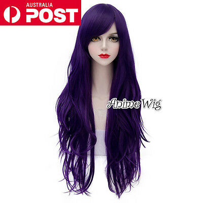 Lolita Purple Long 80CM Wavy Fashion Party Women Cosplay Wig + Wig Cap