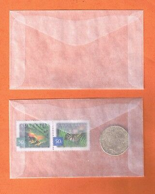 "Glassine Envelope Acid Free 65 x 100mm 2.36"" x 4"" for Stamps Coins pk of 100"