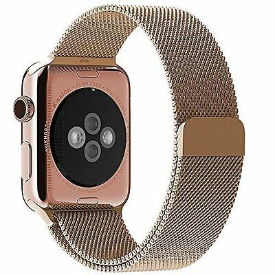 Apple Watch Milanese Loop Woven Mesh Adjustable Magnetic closure, Rose Gold 38mm