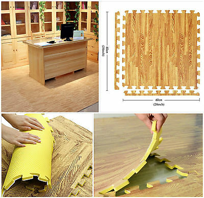 4PC EVA Interlocking Mats Wood Effect Soft Foam Floor Matting Reversible(SI-052)