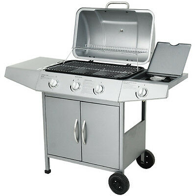 BBQ Gas Grill Rack Barbecue Stainless Steel Portable 3 +1 Side Burner New