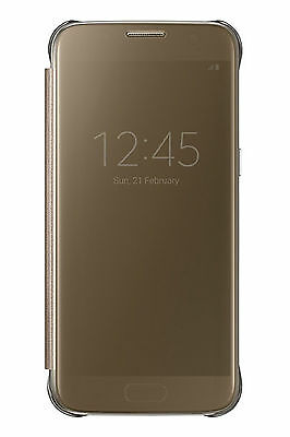 online store 99cdb 74b6b OFFICIAL SAMSUNG GALAXY S7 Gold Clear View Cover / Case - EF-ZG930CFEGWW