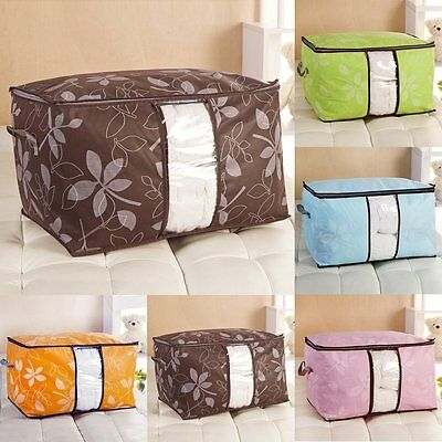 Large Thick Fiber Clothes Quilt Blanket Zip Foldable Storage Bag Box Organizers
