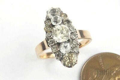 Antique Late Victorian English 15K Gold Silver Foiled Paste Navette Ring