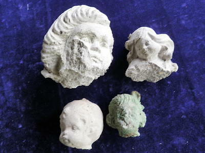 Concrete Garden Cement Head Face Salvage Fragment Collection Lot of 4  Q