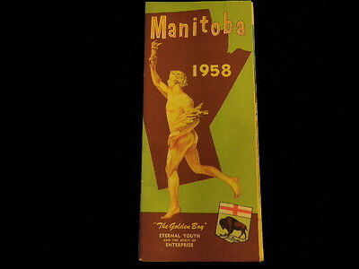 Vintage 1958 Official Manitoba Canada Highway Road Map  Unused? Great