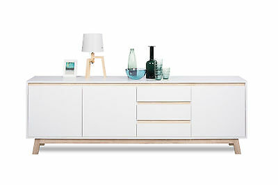 sideboard kommode wei wohn schlafzimmer matt vintage elegant holz eiche eur 219 90. Black Bedroom Furniture Sets. Home Design Ideas