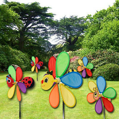 Rainbow Bright Coloured Flower Windmill Wind Mobile Spin Garden Yard Decor