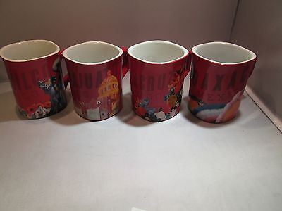 Nescafe Clasico Mexico Themed Mugs Set of 4 Coffee Tea Cups Red