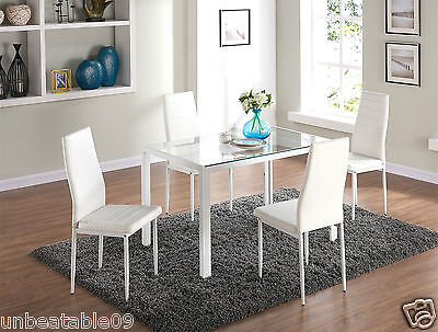 Clear Glass Dining Table Set and with 4 White Faux Leather Chairs Seats Designer