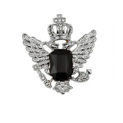 Vintage Crown Eagle Pattern Collar Brooch Pin for Men Silver and Black