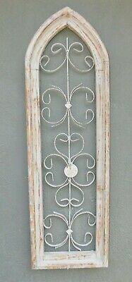 Wooden Antique Style Church WINDOW Wrought Iron Primitive Wood Gothic 36 INCH