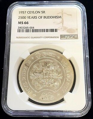 1957 Silver Ceylon 5 Rupees 2500 Years Of Buddhism Coin Ngc Mint State 66