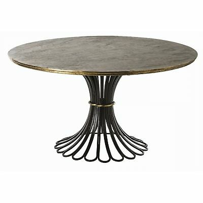 "60"" Round Dining Table Gold Black Brass Foil Natural Iron Finish Solid Brass She"