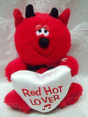 """Plush 7"""" Red Hot Stuff Lover MTY Talks Sings Heart Musical Music Black Bow Tie"""
