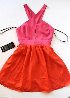 NWT bebe pink orange coral cross neck flare cutout cross back top dress S M L