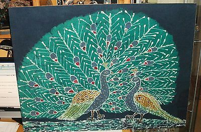 Large Peacocks Signed Original Batik Painting