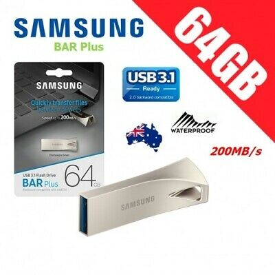 Samsung 64GB Flash Drive BAR Metallic Pendrive 64G USB 3.0 130MB/s *AU Warranty*