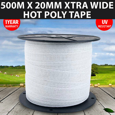 NEW Poly Tape 500m x 20mm Xtra Wide Polytape Stainless Steel Wire Electric Fence