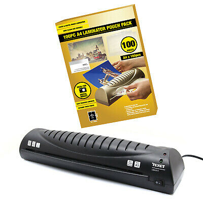 TEXET HOME OFFICE PERSONAL A3 HOT LAMINATOR LMA3-V + 100 x A4 LAMINATING POUCHES