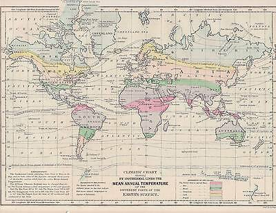 Antique Map - MEAN ANNUAL TEMPERATURE Climatic Chart.  Isothermal Lines. 1857