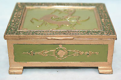 Antique Hinged Japanese Metal Box Wood lined Raised Repousse Oriental Japan