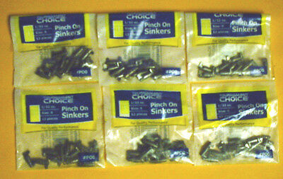 72 Tournament Choice 1/32 Oz Pinch On Sinkers (6 Packs Of 12)