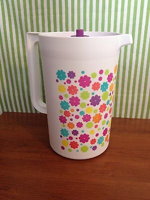 Tupperware Classic Pitcher One Gallon Round White w/ Flowers New