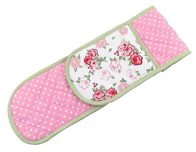 Luxury Garden Rose Polka Dots 100% Cotton Pink White Green Double Oven Gloves