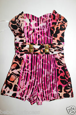 fad3edcaae88d NWT bebe purple pink leopard strapless bustier belt top dress romper XS S M  L
