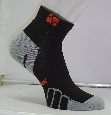 Vitalsox Running Ped Light Weight Sock, Black/Silver, Large VT0210