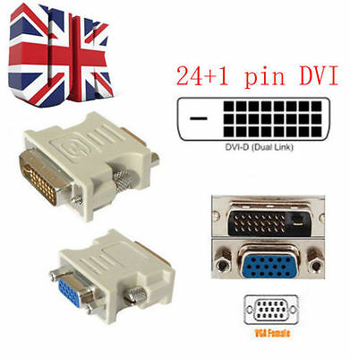 Dvi-D Dvi Male 24+1Pin To Vga Female Svga 15Pin Video Monitor Adapter 10