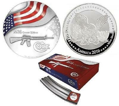 2010 America 2$ Colt  M16 Proof-like 1 Oz .999 Proof US Silver Coin VERY RARE!!!