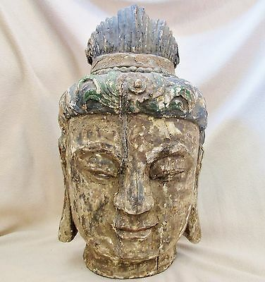 """BIG 19.5"""" Antique Chinese Painted & Carved Wood BUDDHA or KWAN-YIN Bust Statue"""
