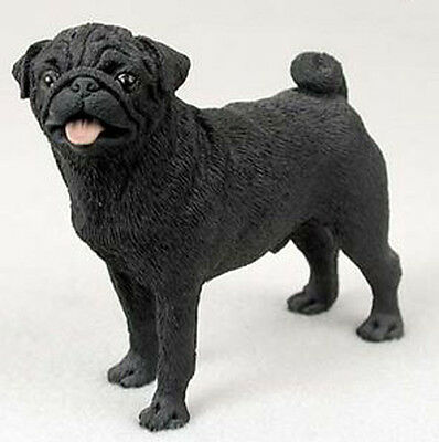 PUG (BLACK) DOG Figurine Statue Hand Painted Resin Gift Pet Lovers