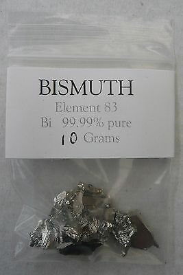 Pure Bismuth metal chunks, 10 gram sample bag. Element collection, chemistry etc