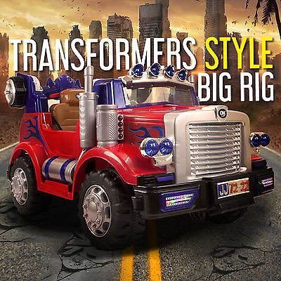 Transformers Style Truck Kids Ride On Car Childrens Electric Cars Working Lights