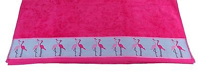Flamingo Hearts Bright Fresh Cotton Pink Absorbant Thick Beach Towel 83 X 160Cm