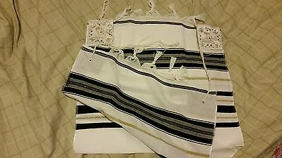Beautiful Jewish Prayer Shawl / Tallit - Size 18 - Made In Israel - Black & Gold